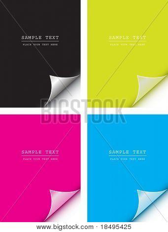 Vector - papel de colores con el enrollamiento de página realista. Copiar el espacio para la imagen o texto.