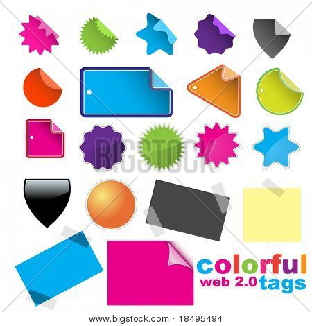 Vector - A lot of glossy and colorful sale tag stickers.