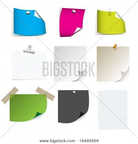 Vector - Big collection of paper message set with drop shadow and very detailed.