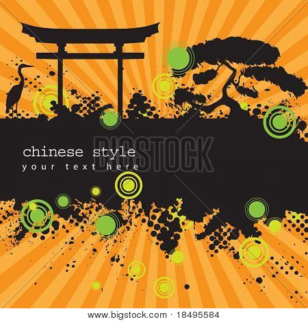Vector - Halftone ink splat grunge background with retro asian chinese style theme.