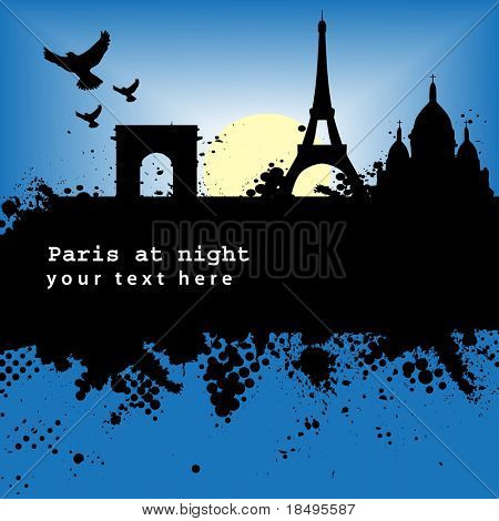 Vector - Paris, France Grunge city at night with the Eiffel tower and moonlight.