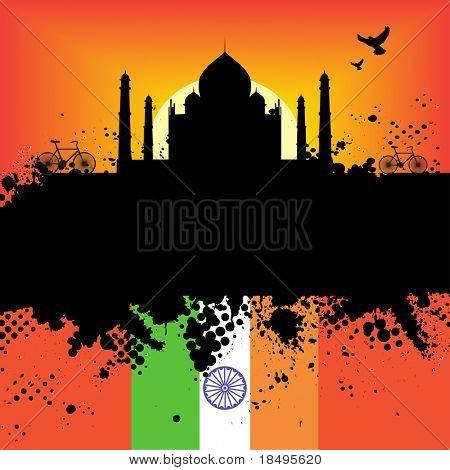 Raster - India Grunge city at sunset with the Taj Mahal