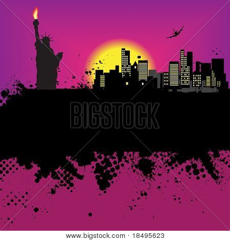 Raster - New York Grunge city at sunset with the statue of liberty