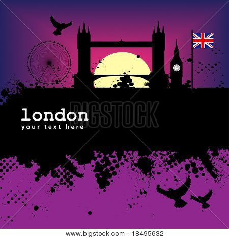 Vector - London Grunge city at sunset with the tower bridge and big ben