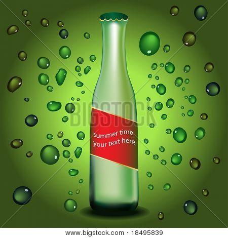 Vector - botella con gotas de agua y etiqueta. Colores se pueden cambiar. Concepto: Enfriamiento su refrescante