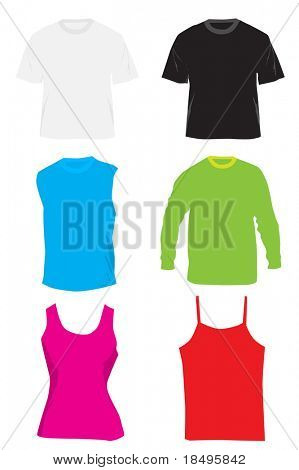 Vector - Blank shirts and tshirts. Colors can be changed and text inserted.