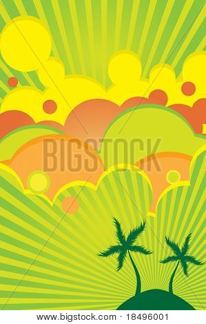 Vector - 70s retro colorful summer party poster with beach theme.