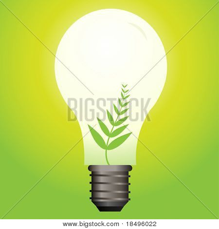Raster - Ecological or green light bulb with leaf as the filament.