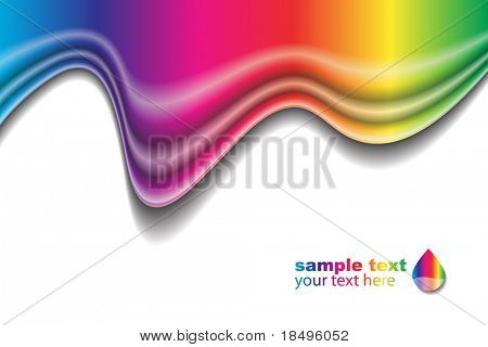 Vector - Rainbow liquid forming a wave. No gradient mesh used.