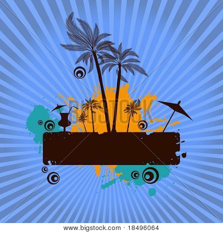 Raster - Summer island illustration with palm tress and starburst. Place for text.