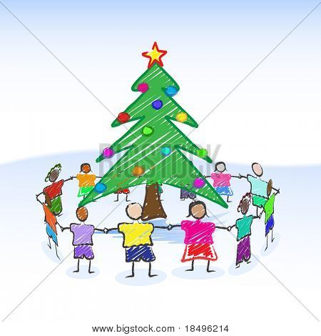 Vector - Illustration of a christmas tree child-like drawing or sketch with children