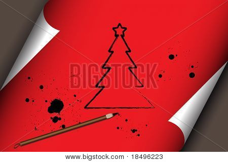 Raster - Illustration of a chinese brush stroke drawing of a christmas tree