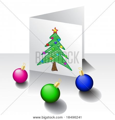 Raster - Illustration of a Christmas card with a tree and decoration balls