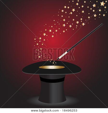 Vector - varinha mágica realizando truques em uma cartola com estrelas
