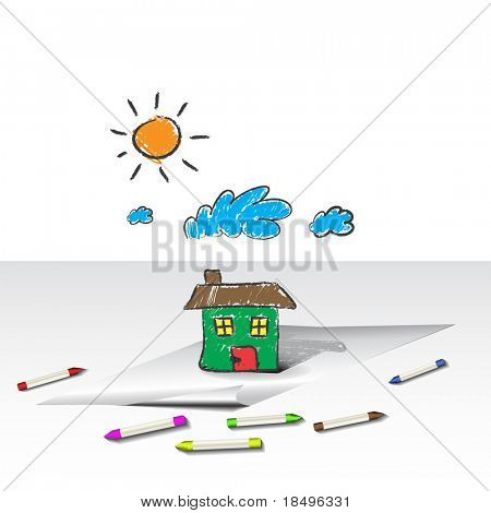 Vector - Child or kids drawing of a house, home. Crayons are scattered around the paper.