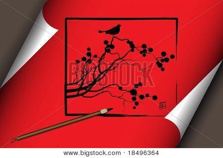 Vector - arte asiático chino trabajar sobre un pergamino rojo con el tema de la naturaleza