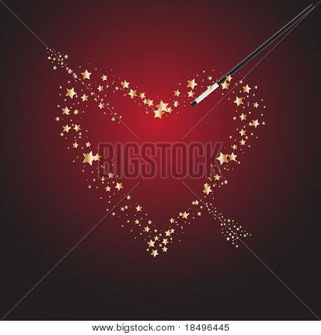 Vector - Magic wand forming bright stars for Valentines day celebration