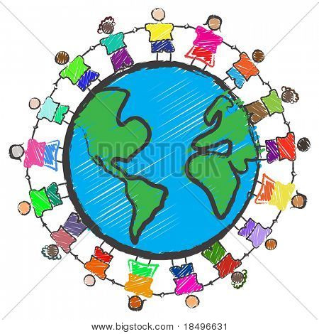 Vector - Illustration of a group of kids with different races holding hands around the globe