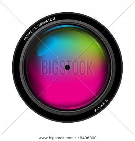 Vector - ilustración del elemento frontal del lente de una cámara digital profesional