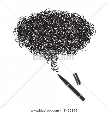 Raster - Illustration of a blot of ink drawing using a black pen forming a word bubble