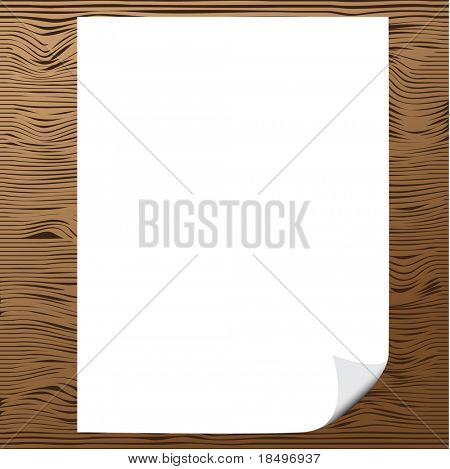 Vector - Illustration of a blank piece of paper with corner curl against wood background