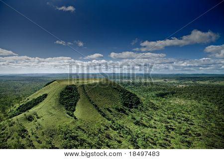 Aerial shot of inactive volcano