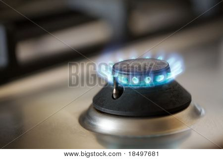 Gas burner on modern stainless steel stovetop