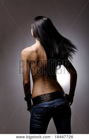 Beautiful hair from behind on studio background