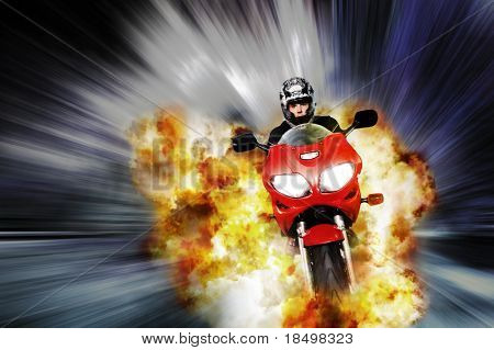 Hero on motorbike escapes explosion with blurred background, comic style edit