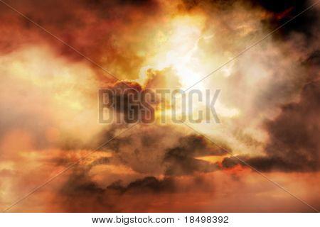 Spectacular sunrise bursts through clouds