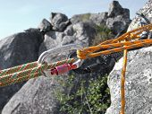 stock photo of mountain-climber  - Equipment for mountain climbing and rappelling close up - JPG