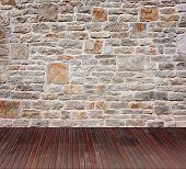 Постер, плакат: Интерьер старинных комната с каменной стеной