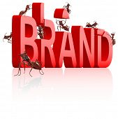 brand development or creation of strong red name poster