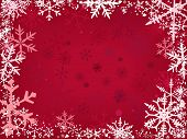 foto of snow border  - Border of snowflakes fading into a red background - JPG