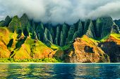 Na Pali coast, Kauai, Hawaii view from sea sunset cruise tour. Nature coastline landscape in Kauai i poster