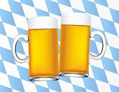 image of beer mug  - vector illustration of cheers with two beers with bavarian flag - JPG