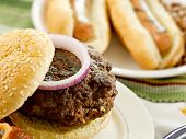 stock photo of hot dogs  - hamburger and hot dogs - JPG