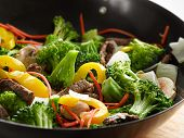 stock photo of chinese wok  - wok stir fry closeup - JPG