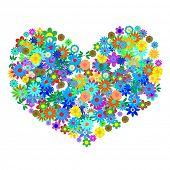 Постер, плакат: Вектор символ образованном сотни цветов или цветочные узоры в форме сердца Концепция: Роман