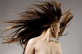 stock photo of hair blowing  - Nude beauty model in studio with hair blown by wind - JPG