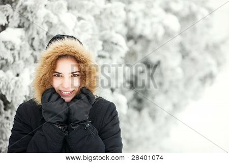 Cute Girl On A Cold Winter Day