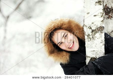 Smiled Cute Girl On A Cold Winter Day