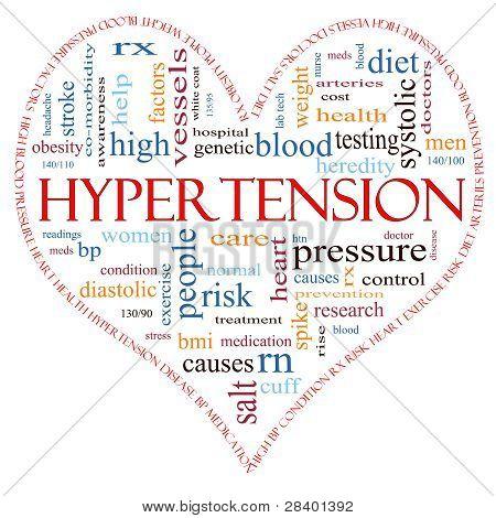 Hipertensão coração em forma de conceito de nuvem de palavras