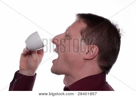 Man Enjoyed A Cup Of Espresso