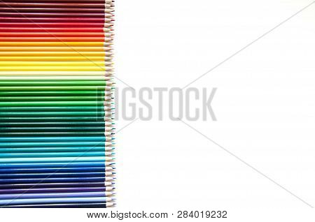 Many Multicolored Pencils Background With Color