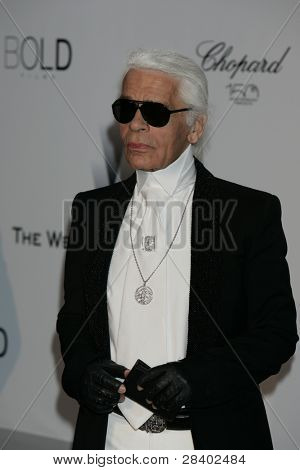 ANTIBES - MAY 20: Karl Lagerfeld at the AMFAR Cinema Against Aids Gala at the Hotel Du Cap on  May 20, 2010 in Antibes, France