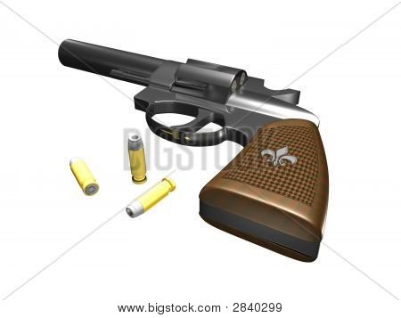 Handgun Facing Up With Ammo