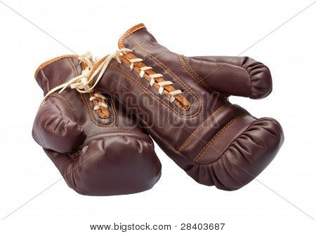Vintage Boxing Gloves Isolated On White