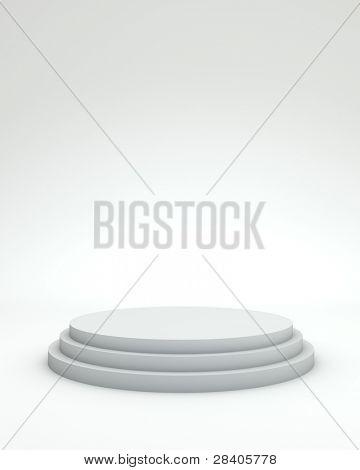 3 steps empty podium on white background.