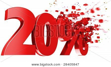 Explosive 20 Percent Off On White Background